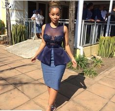 15 Shweshwe staples style 2018 fashionable and comfortable - African Bridesmaid Dresses, African Wedding Attire, Latest African Fashion Dresses, African Dresses For Women, African Print Dresses, African Attire, Xhosa Attire, Seshweshwe Dresses, South African Traditional Dresses