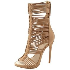 Vince Camuto Barbara Sandal ($99) ❤ liked on Polyvore featuring shoes, sandals, tan, caged sandals, vince camuto shoes, high heel shoes, gladiator shoes and vince camuto sandals