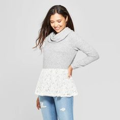 3f437556ca042 Women's Long Sleeve Lace Bottom Turtleneck Pullover - Knox Rose™ Heather  Gray XL