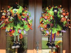 Double door Halloween wreaths from Southern and Sassy Door Decor and More on Facebook