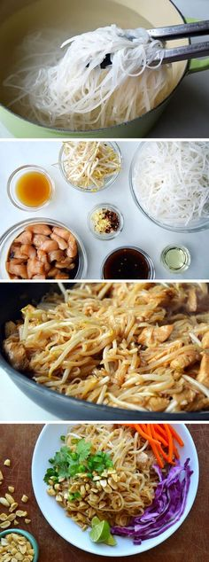 Easy Pad Thai with Chicken - 8 ounces pad thai noodles 2 eggs 1 batch of this awesome pad thai sauce 3 cooked chicken breasts, sliced 1 cup bean sprouts 1 cup cilantro 3 green onion, sliced 1/2 cup chopped peanuts Prepare noodles according to package instructions.