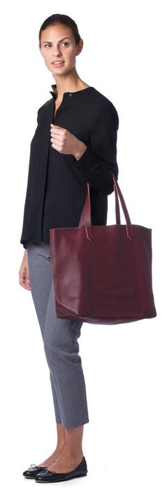 Leather Tote Burgundy