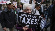 Trump bashes tax protesters who want him to release his returns