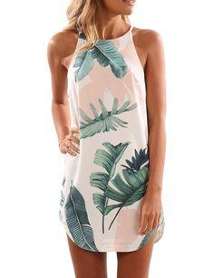 Yuandy Womens Summer Round Neck Sleeveless Print Chiffon Dress Casual Sundress at Amazon Women's Clothing store: