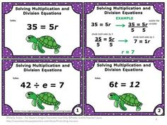 FREE Solving Multiplication and Division Equations - You will receive 6 math task cards with a mix of multiplication and division equations.