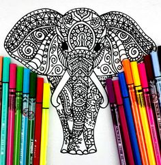 Elephant Coloring page, with many details, complex drawing to color, full of possibilities , color therapy! Attached we have 5 pictures for you print