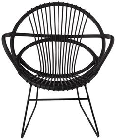 Singapore Armchair Black / Rattan / Powder coated feet  by Pols Potten - Design furniture and decoration with Made in Design