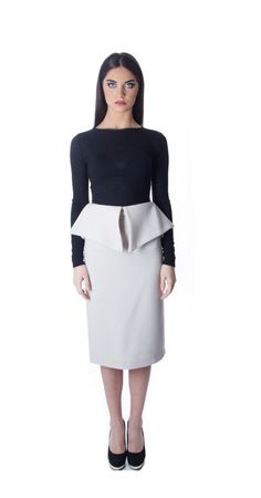 LIDIJA fall/winter 2015 Peplum skirt with black comfortably fitted top for more info www.lidija.ca