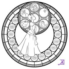 Tiana Stained Glass -line art- by Akili-Amethyst.deviantart.com on @deviantART