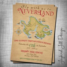 Neverland Birthday Invitation Peter Pan by JaybirdJillDesigns
