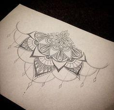sternum tattoo - without the dangly part 1 Tattoo, Chest Tattoo, Mandala Tattoo, Piercing Tattoo, Back Tattoo, Sternum Tattoos, Tattoo Wings, Lotus Mandala, Mehndi Tattoo