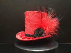 Red Crushed Velvet Mini Top Hat for Halloween by daisyleedesign