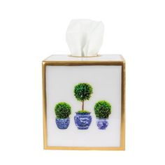 PRE-ORDER Boxwood Topiary Enamel Tissue holder – SOHOCO Tissue Box Covers, Tissue Boxes, Tissue Holders, Boxwood Topiary, Topiary Trees, Topiaries, Enamel, Blue And White, Gold Accents