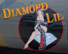 """Nose art on the B24 Consolidated Liberator bomber, """"Diamond Lil""""."""