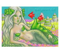 "Original ACEO Mermaid fairy fantasy Art painting green ivy spring st patrick's Holly Durr. This is a Original ACEO Painting, by Holly Durr. - Mediums: Colored Pencil and Acrylics. - Paper: 100% cotton acid-free and lignin-free Stonehenge paper. - Size: 2.5""x3.5"". - Copyright Info: Watermark does not appear on print. It is for web purposes only. Holly Durr's artwork can not in no means be reproduced into anything to make money, products, prints, copycats. Note you are only purchasing the..."