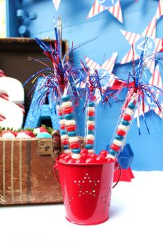 Patriotic Party Ideas for Memorial Day & 4th of July themed BBQ, party, etc. - party favors, decorations, goodies