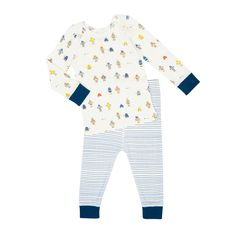 Introducing our super soft infant sleep sets. Tiny colorful robots are on the march across a cosy fitted pajama top and cobalt striped bottoms. For the perfect gift, combine it with our matching baby blanket. 100% Cotton. Made in India.   For child's safety, garment should fit snugly; this garment is not flame resistant; a loose-fitting garment is more likely to catch fire.