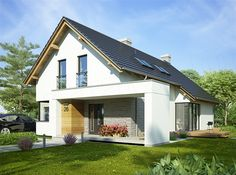 Zdjęcie projektu Arystoteles WRP1548 Modern Bungalow Exterior, Modern Bungalow House, Modern House Design, Courtyard House, Facade House, House Extension Plans, Hut House, Architectural House Plans, Country House Plans