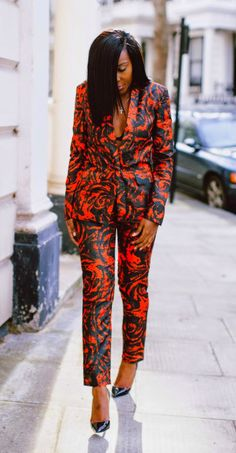 Olivia Gold in a Floral Suit