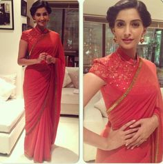 Sonam Kapoor opted for a red Tarun Tahiliani saree with a collar blouse for the promotions of 'Bhaag Milkha Bhaag'. Blouse Designs High Neck, Sari Blouse Designs, Designer Blouse Patterns, Dress Designs, Tarun Tahiliani, Sonam Kapoor Saree, Deepika Padukone, India Fashion, Asian Fashion
