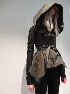 rick owens army black wax rain jacket w leather sleeves