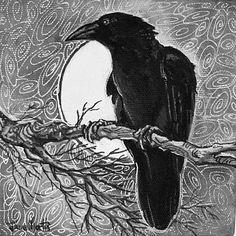 Ravens Moon print giclee Crow Raven moonlight by DianaMartinStudio, $9.99