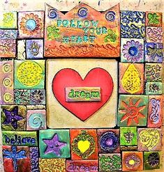 Your place to buy and sell all things handmade Mosaic Wall Art, Mosaic Tiles, Heart Wall Art, Class Projects, Wooden Hearts, Clay Charms, Wall Plaques, Project Ideas, Polymer Clay