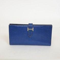 Authentic HERMES Lizard Bearn Long Wallet engraved F Blue SV Hardware