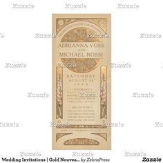 Wedding Invitations | Gold Nouveau Deco