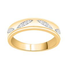 14k Yellow Gold over Silver 1/10ct TDW Diamond Engagement and Wedding Band (H-I, I1-I2) (Size-7.5), Women's, Size: 7.5, White H-I
