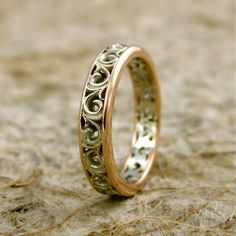 TwoTone 14K White and Rose Gold Swirly by AdziasJewelryAtelier, $620.00
