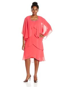 S.L. Fashions Women's Plus-Size Tiered Jacket and Dress Two-Piece Set >>> New and awesome product awaits you, Read it now  : Plus size dresses
