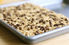 No bake choc chip granola bars. Uses oatmeal and rice krispies. Looks pretty easy and my kids inhale granola bars.