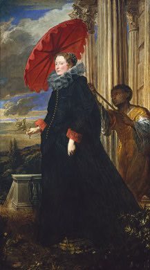 A bit late with a date of 1623, but the parasol is fabulous and detailed.  Sir Anthony van Dyck  Marchesa Elena Grimaldi Cattaneo, 1623  Widener Collection  1942.9.92