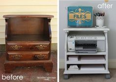 How To Repurpose Furniture Island Old Bedside Table To Rolling Printer Cart Clever Diy Repurposed Fu Furniture Projects, Furniture Making, Furniture Makeover, Furniture Decor, Home Projects, Painted Furniture, Western Furniture, Nursery Furniture, Metal Furniture