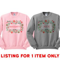 Crewneck - Nice Cross Stitch - Christmas Best Friends Sweater Jumper Pullover Womens Ladies Outfit Oversized