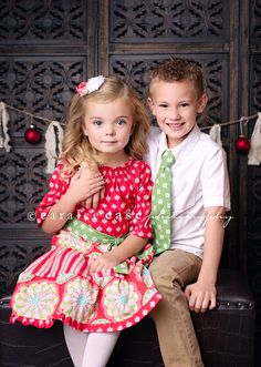 Brother and Sister Matching Christmas Outfits- Girls Christmas Whimsy Peasant Dress and Coodinating Boys Necktie from Mellon Monkeys. $71.00, via Etsy.