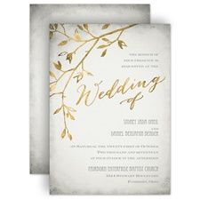 Leaves of Gold Rustic Wedding Invitation