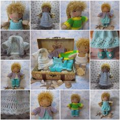 A lovely free knitting pattern for a small Waldorf style doll with wardrobe. Yeah, dig up your needles!