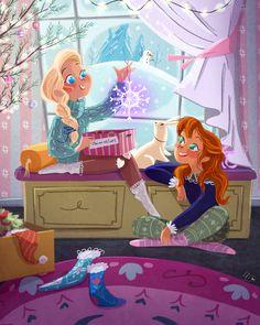 Modern Teenage Elsa and Anna