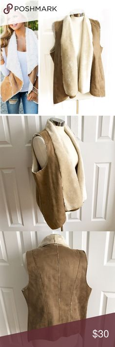 INC Tan Suede Vest Faux Fur Trim Faux suede tan vest with beige, cream faux fur lining and trim. INC brand size large. Dry clean only. First photo on left not actual item just showing for styling inspiration! INC International Concepts Jackets & Coats Vests