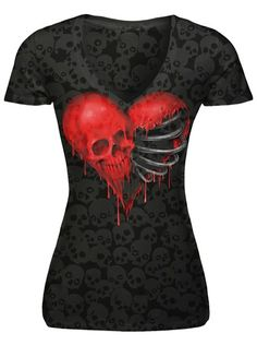 """Women's """"Ribcage Heart Skull"""" Burnout Tee by Lethal Angel (Black)1"""