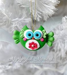 Handcrafted Polymer Clay Owl Ornament by MyJoyfulMoments on Etsy