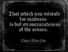 Discover and share Edgar Allan Poe Quotes Madness. Explore our collection of motivational and famous quotes by authors you know and love. Poetry Quotes, Words Quotes, Wise Words, Me Quotes, Sayings, Raven Quotes, Famous Quotes, Edgar Allen Poe Quotes, Edgar Allan Poe