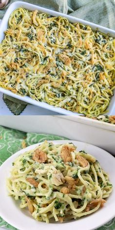 Monterey Chicken Spaghetti is packed with chicken, spinach and pasta and topped wit crispy fried onions. This is sure to become a new family favorite!