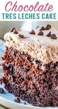 If you haven't tried a tres leches cake, you haven't lived. This Chocolate Tres Leches Cake has the most amazing flavor ever! Made with three milks, this cake is a crowd pleaser.  Served at birthday parties and major holidays, this is cake is sure to become a tradition. #tresleches #cakemix #chocolate #cake #dessert