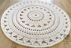 "Absolutely stunning round rug in), doily rug, lavender color carpet Shabby chic, rug for the living room, by LaceMats ""LaceEmma"" Doily Rug, Doilies, Scandinavian Style, Shabby Chic Rug, Knit Rug, Crochet Carpet, Gift Ribbon, Ecru Color, Macrame Design"