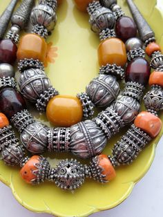 Yemen Ethnic Tribal Boho Jewellery - Antique Silver, Red Coral, Amber  (I could probably do a  reasonably reproduction had I some more silver pieces... Hmmmm.)