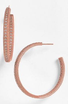 Sparkly rose gold hoop earrings for date night!