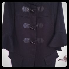 Vera Wang Peacoat Black tweed with a hint of silver shimmer woven in, 3 buttons down the front with inside snaps, large pockets and bell sleeves. Wore once, dry cleaned and in BRAND NEW condition. Simply Vera. Vera Wang Jackets & Coats Pea Coats